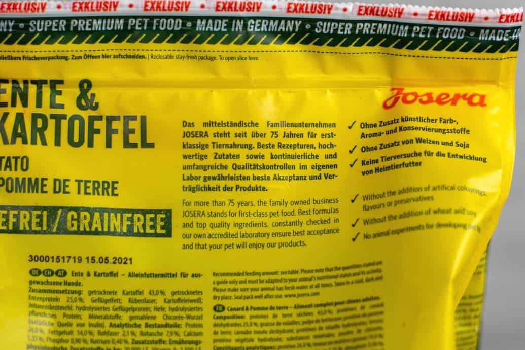 Verpackungsrückseite Josera Ente und Kartoffel