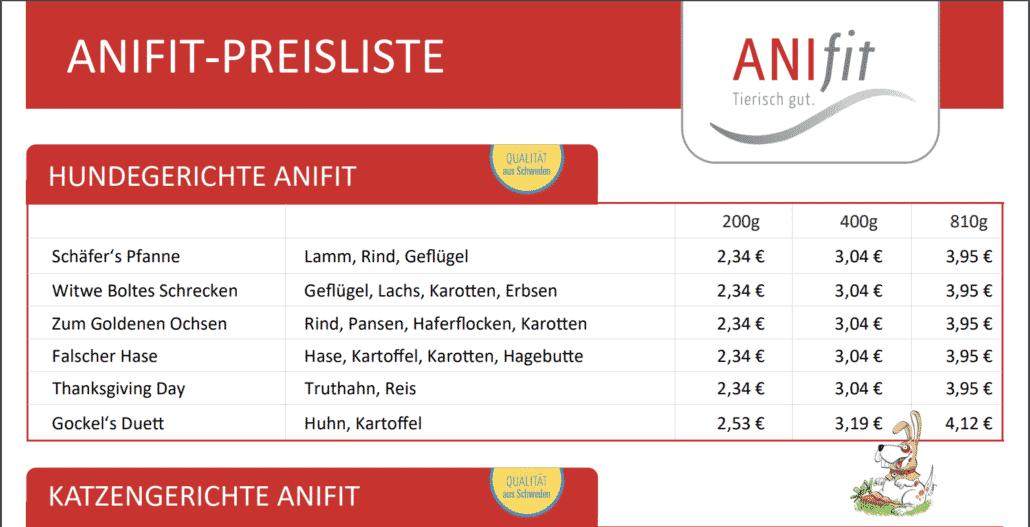 Anifit Preisliste