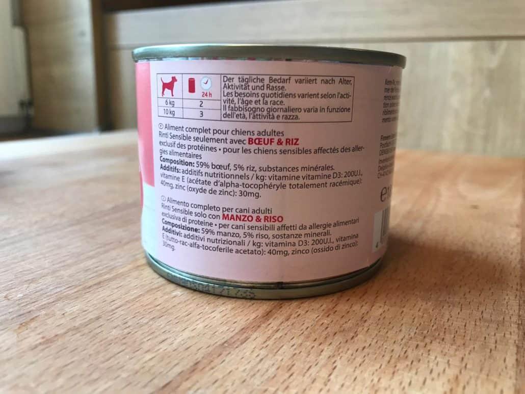 Rinti Hundefutter Deklaration